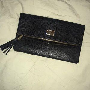INC foldover crocodile clutch purse gold hardware
